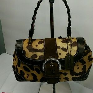 COACH MADISON OCELOT LEOPARD PRINT EVENING SMALL B